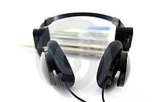 Headphones And Compact Disks Royalty Free Stock Image - Image: 14704826