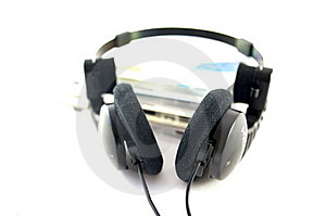 Headphones And Compact Disks Stock Photo - Image: 14704830