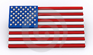 USA Flag In 3d Shapes Royalty Free Stock Image - Image: 14705146