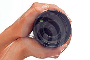 Lens In Hands Stock Photography - Image: 14705412