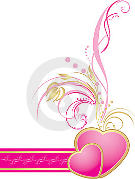 Pink Hearts With Decorative Sprig On The Ribbon Stock Image - Image: 14707251