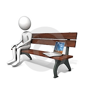 Men Sitting On The Bench Near A Laptop. Stock Image - Image: 14710791