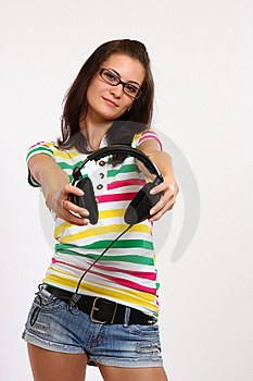 Teenager Holding Earphone Stock Images - Image: 14711284