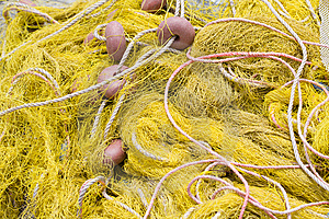 Fishing Tackle: Net, Float, Rope Close-up Royalty Free Stock Photography - Image: 14711817