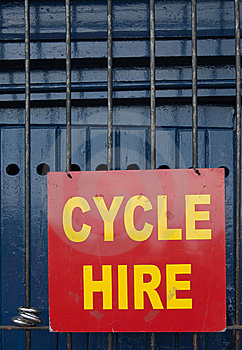 Cycle Hire Sign Royalty Free Stock Photography - Image: 14712897