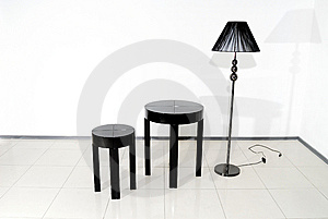 Black Chair, Table And Floor Lamp Stock Photos - Image: 14713653