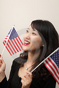 Young Lady With USA Flag Royalty Free Stock Photo - Image: 14714845