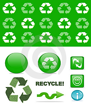 Recycling Set Royalty Free Stock Photography - Image: 14718567