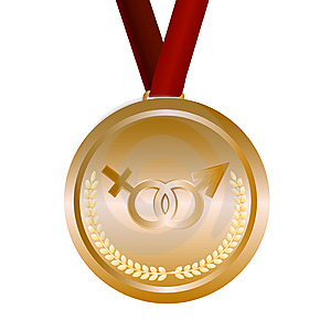 Gold Medal With Feminine And Masculine Signs Royalty Free Stock Image - Image: 14718896