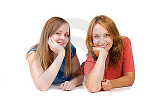 Girls Lie On A Floor Stock Photo - Image: 14720080
