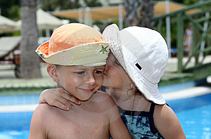 Little Girl Kissing A Boy Royalty Free Stock Photography - Image: 14720617