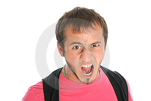 Unshaven Malicious Young Man Shouts Royalty Free Stock Photo - Image: 14728625