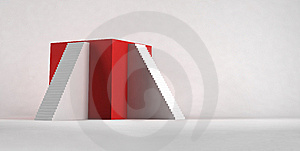 The Red Cube With Stairways. Royalty Free Stock Photo - Image: 14731705