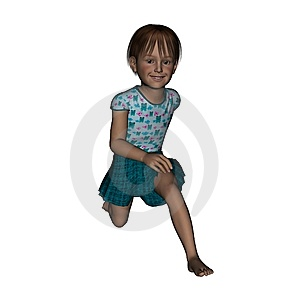 3D Render Running Young Girl Stock Image - Image: 14738021