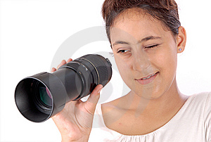 Girl Looking Through Lens Stock Images - Image: 14738354
