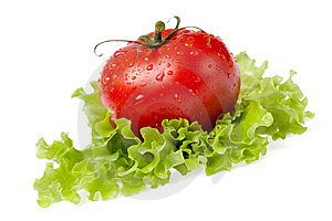 Red Juicy Tomato With Litho Of The Salad Stock Photo - Image: 14738990