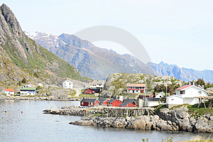 The Fjord And The Village Of Reine In Lofoten Royalty Free Stock Image - Image: 14740306