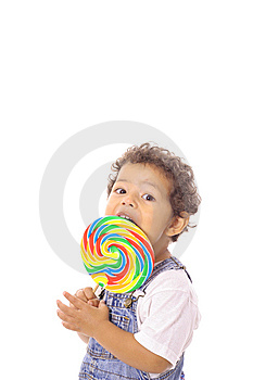 Child Eating A Big Lollipop Stock Images - Image: 14740894