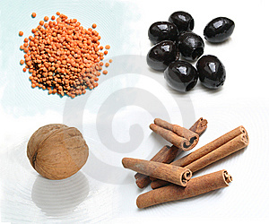 Food Ingredients - Lenses Olives Walnut Cinnamon Royalty Free Stock Image - Image: 14741246
