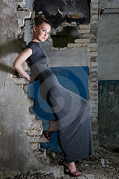 Beautiful Young Woman Posing In The Ruins Stock Photos - Image: 14742703