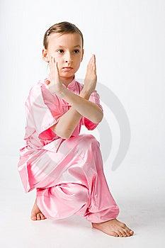 Girl In A Pink Kimono Stock Photos - Image: 14743643