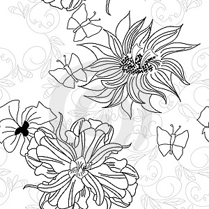 Seamless Wallpaper With Flowers Royalty Free Stock Photos - Image: 14749978