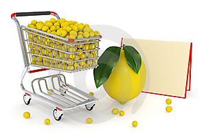 3d Shopping Cart Full Of Yellow Lemons Stock Image - Image: 14750401