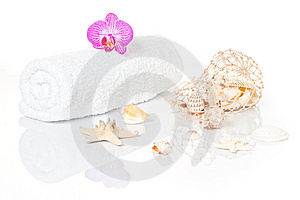 White Towel With Orchid An Seashells Royalty Free Stock Photo - Image: 14751705