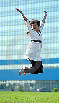 Jumping Woman Stock Image - Image: 14752091