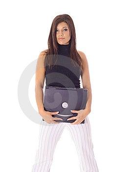 Gorgeous Model Holding A Laptop Stock Image - Image: 14752141