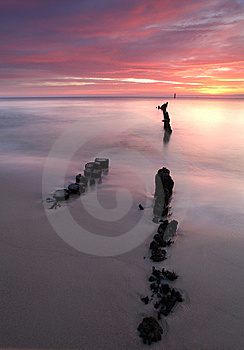 Beautiful Sunrise At Baltic Beach In Poland Stock Photo - Image: 14753410