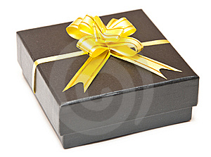 Black Gift Box With Golden Ribbon Stock Photos - Image: 14756503