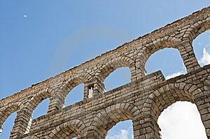 Aqueduct Segovia With Plane Stock Photos - Image: 14756833