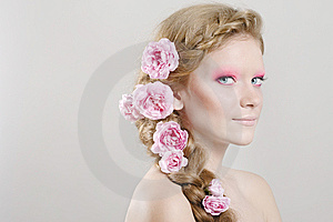 Woman With Pink Flowers In Hair Royalty Free Stock Photo - Image: 14760145