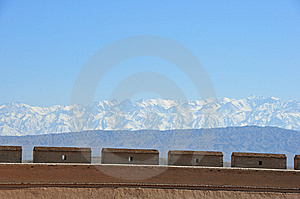 Greatwall And Snow Capped Mountain Royalty Free Stock Photo - Image: 14763445