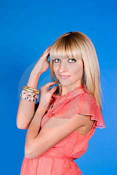 Picture Cute Blonde In A Bright Dress Stock Images - Image: 14764364