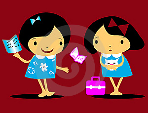 Vector Girls Back To School Icons Stock Images - Image: 14765904
