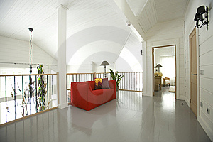 Hall With Red Sofa Stock Image - Image: 14766371