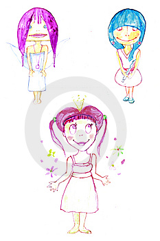 Little Cute Tree Fairies Smiling Royalty Free Stock Photos - Image: 14766458