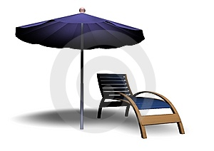 Beach Parasol And Deckchair Stock Photos - Image: 14766753