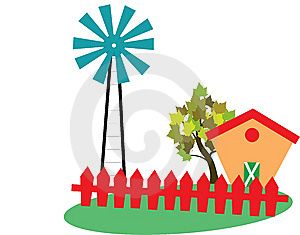 Landscape With Windmill Royalty Free Stock Image - Image: 14767256