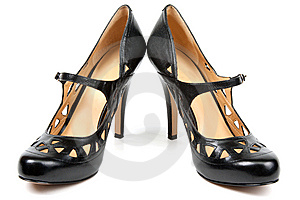 Black Feminine Loafers On High Heel Royalty Free Stock Images - Image: 14769559