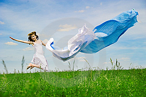 Happy Young Woman Jumps Stock Images - Image: 14773884