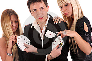 Magician Make Performance Cards Stock Image - Image: 14774381