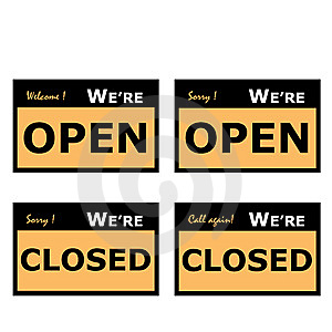 Open And Closed Signage Stock Image - Image: 14775091