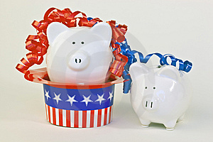 Two Patriotic Piggy Banks Royalty Free Stock Photography - Image: 14775587