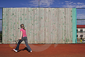 The Girl Trains To Play Tennis. Royalty Free Stock Photo - Image: 14776315
