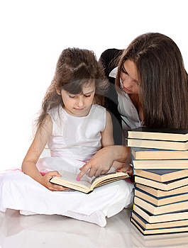 Two Sisters With Books, Isolated. Royalty Free Stock Images - Image: 14778859