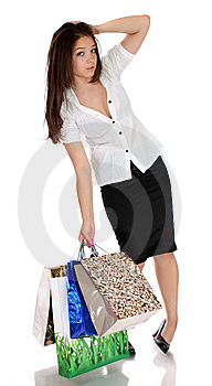 Girl With Purchases. Stock Photography - Image: 14779052
