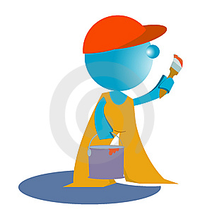 Blueman Painter Worker Royalty Free Stock Photos - Image: 14782818